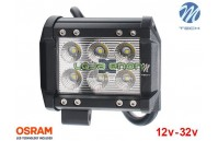 "Barra de LED 18w 1200Lm LED Osram Plana Flood 4"" 10-32v M-Tech"