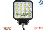 "Projetor de LED 48w 3600Lm LED Osram Quadrado Flood 4.3"" 10-30v M-Tech"
