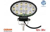 "Projetor de LED 36w 2400Lm LED Osram Oval Flood 5.4"" 10-30v M-Tech"