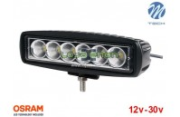 "Projetor de LED 18w 1000Lm LED Osram Retangular Flood 6.1"" 10-30v M-Tech"