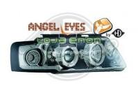 Faróis Angel Eyes Fundo Cromado VW Passat B5 (1997-2001)