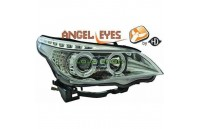 Faróis Angel Eyes Fundo Cromado BMW E60 (2003 - 2007)