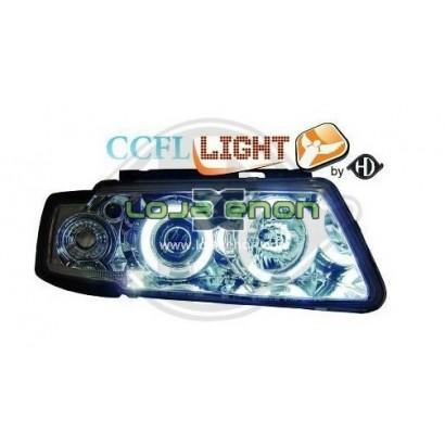 Faróis Angel Eyes CCFL Fundo Cromado VW Passat B5 (1997-2001)