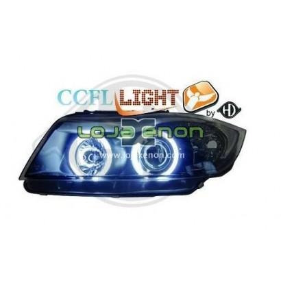 Faróis Angel Eyes CCFL Fundo Preto BMW E90 (2005-2008)