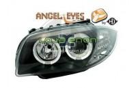 Faróis Angel Eyes BMW Série 1 E81/E87 fundo preto