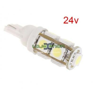 W5W T10 com 9 LEDS SMD Branco - 24v