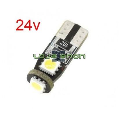 W5W T10 com 3 LEDS SMD CANBUS Branco - 24v