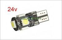 W5W T10 com 5 LEDS SMD CANBUS Branco - 24v