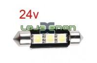 Tubular / C5W 36mm 3 SMD CANBUS Branco com dissipador - 24v