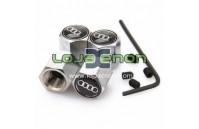 Tampas para Válvulas de Jantes - Anti-Roubo Fundo Preto com Logo Audi