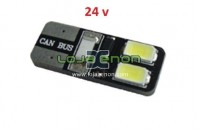 W5W T10 com 4 LEDS SMD 5730 CANBUS 6000k 24v