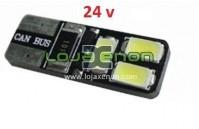 W5W T10 com 6 LEDS SMD 5730 CANBUS 6000k 24v