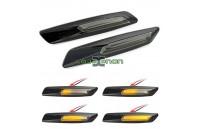 Farolins Laterais LED Dinâmico Escurecido Preto BMW E60, E61, E81, E82, E83, E84, E87, E88, E90, E91, E92, E93