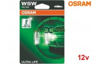 Lâmpadas Halogéneo W5W W2.1x9.5d Ultra Life Osram - Pack Duo Blister