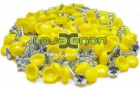 100x Parafusos de matrícula com tampa Amarela