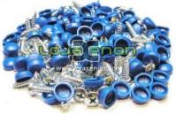 100x Parafusos de matrícula com tampa Azul