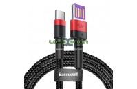 Cabo USB-A para USB-C 1M 5A 40W Vermelho e Preto Baseus