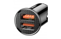 Carregador Isqueiro Duplo USB Dual QC 3.0 5A 30W Preto Baseus