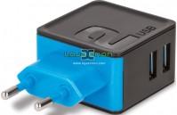 Carregador USB 2 Portas 3.4A Preto e Azul TC-04 Forever