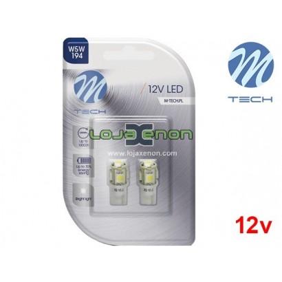 Lâmpadas LED T10 W5W 5xSMD 5050 Cool White Basic M-Tech - Pack Duo Blister