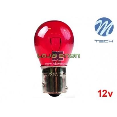 Lâmpada Halogéneo PR21 BAW15s 21W 12V Vermelho M-Tech - Individual