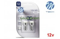 Lâmpadas LED BA15s 24xDip 5mm Cool White Basic M-Tech - Pack Duo Blister