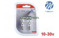 Lâmpadas LED BA9s T4W Canbus 8xSMD 2828 Cool White Platinum M-Tech 10-30V - Pack Duo Blister