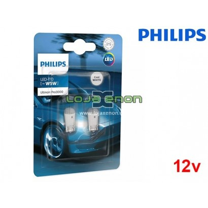 Lâmpadas LED W5W T10 6000K Philips Ultinon Pro3000 - Pack Duo Blister