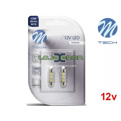 Lâmpadas LED Tubular C5W 36mm 3xSMD5050 Canbus Cool White Basic M-Tech - Pack Duo Blister