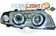 Faróis Angel Eyes BMW E46 fundo cromado 98-01