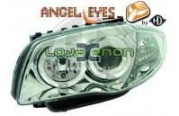 Faróis Angel Eyes BMW Série 1 E81/E87 fundo cromado