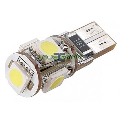 W5W T10 com 5 LEDS SMD 5050 CANBUS 5000k / 6000k